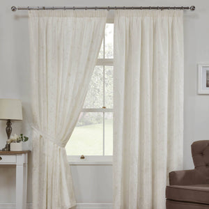 Como Linen Look Ready Made Lined Voile Curtains Cream