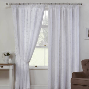 Como Linen Look Ready Made Lined Voile Curtains White