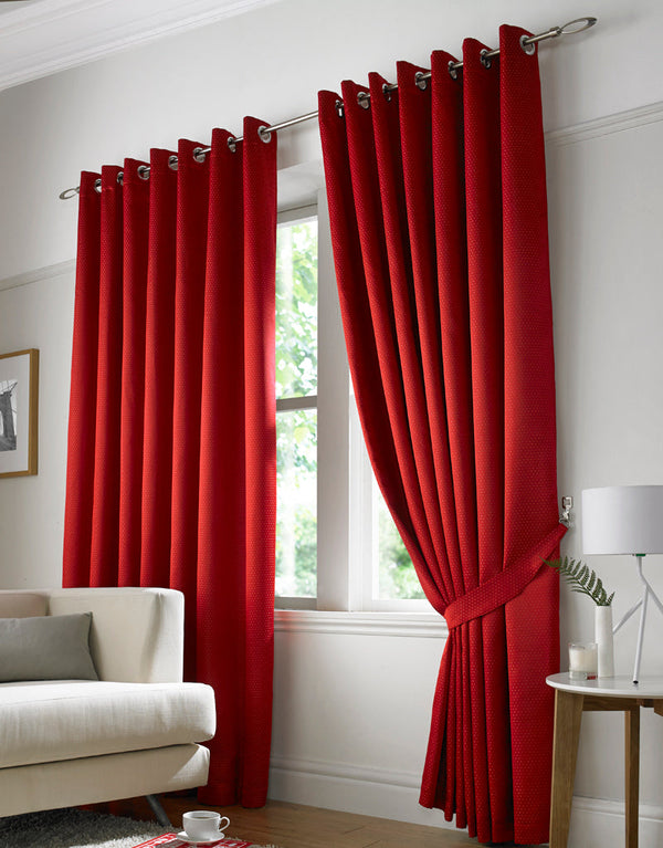 Contempo Ready Made Eyelet Curtains Red