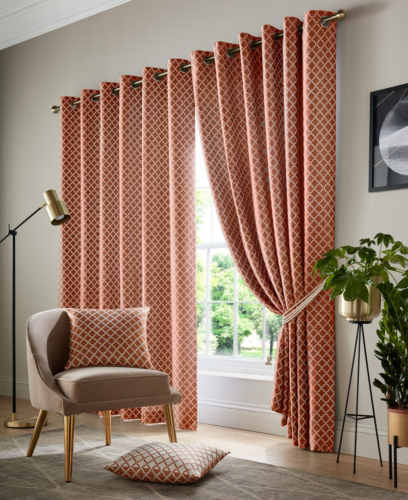 Alan Symonds Ready Made Curtains  Cotswold Ready Made Lined Eyelet Curtains Orange