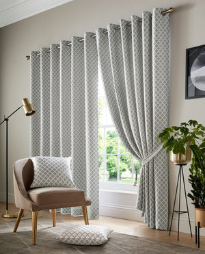 Cotswold Ready Made Lined Eyelet Curtains Silver