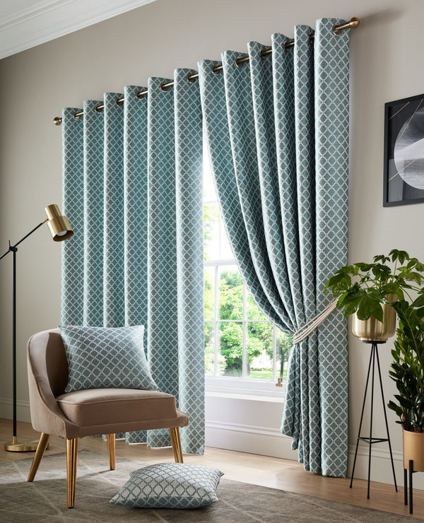 Cotswold Ready Made Lined Eyelet Curtains Teal