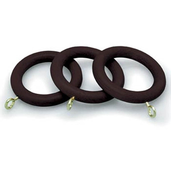 County 28mm Wooden Curtain Rings Chestnut