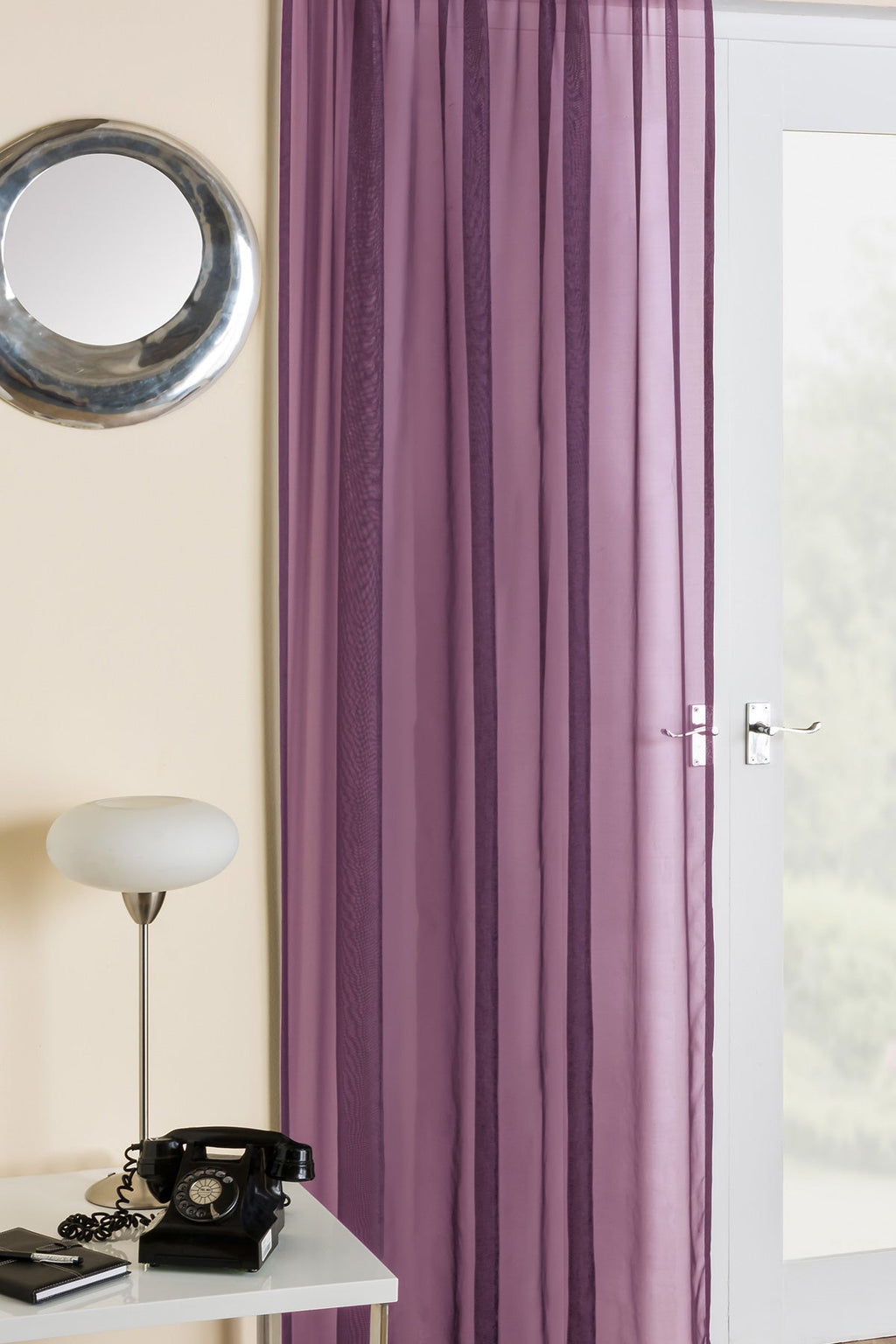 Crystal Voile Panel In Aubergine   UK Delivery   Terrys Fabrics