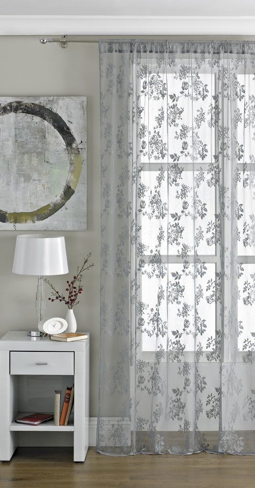 Beamfeature Ready Made Curtains Vintage Lace Panel Pewter Picture