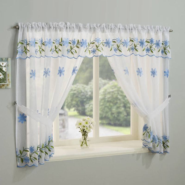 Daisy Kitchen Ready Made Voile Window Set Blue