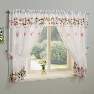 Daisy Kitchen Ready Made Rod Pocket Voile Window Set Pink