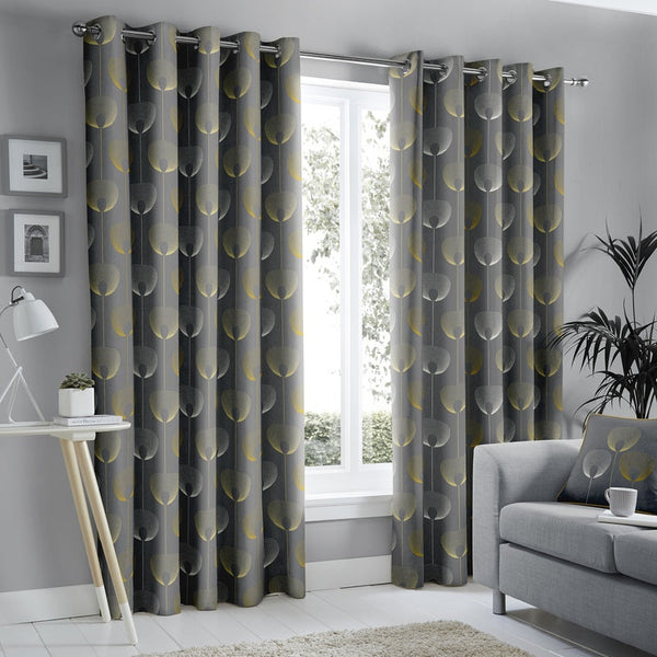 Delta Ready Made Lined Eyelet Curtains Grey