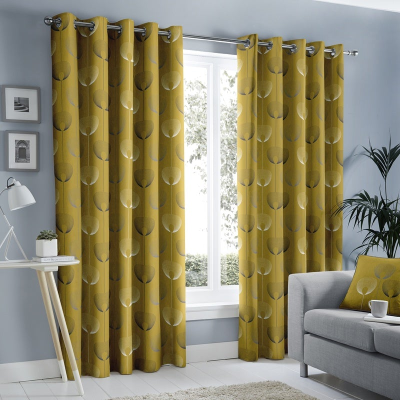 J Rosenthal Ready Made Curtains Delta Ready Made Eyelet Curtains Ochre Picture