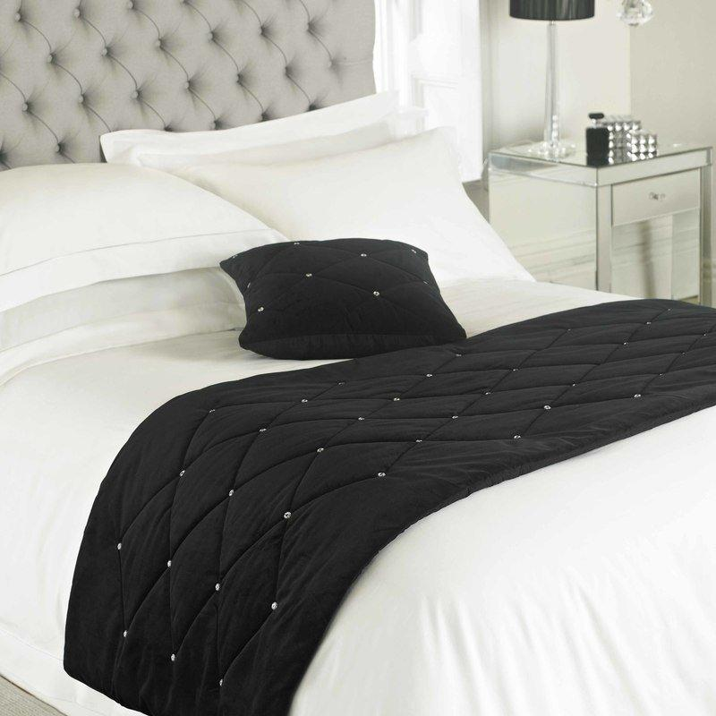 Riva Cushions And Throws Diamante Bed Runner Black Picture