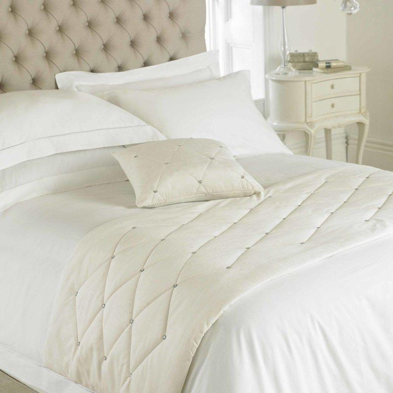 Riva Cushions And Throws Diamante Bed Runner Cream Picture