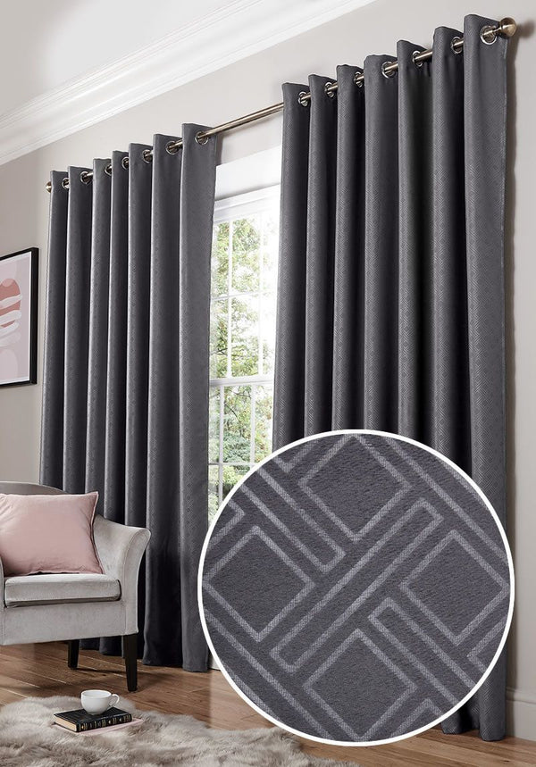 Diamond Ready Made Blackout Eyelet Curtains Charcoal