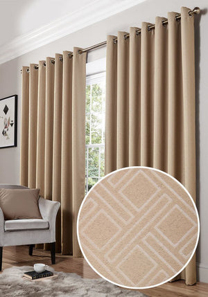 Diamond Ready Made Blackout Eyelet Curtains Mink