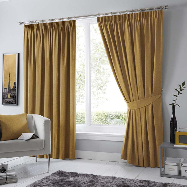 Dijon Ready Made Blackout Curtains Ochre