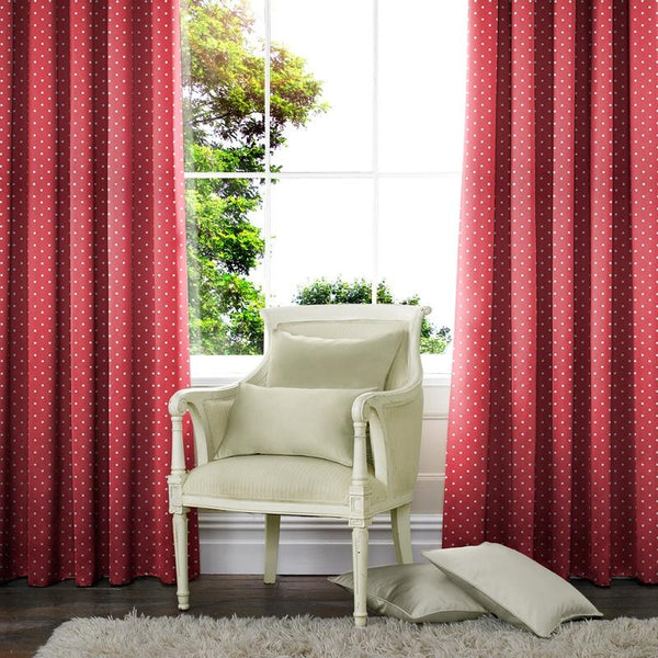 Dotty Made to Measure Curtains Red