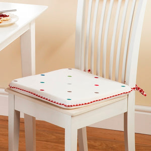 Dotty Embroidered Seat Pad Multi