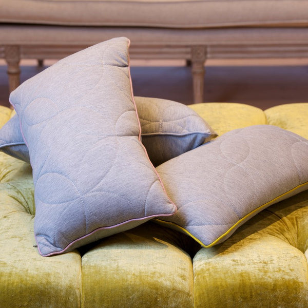 Leo Filled Boudoir Cushion Grey / Lime