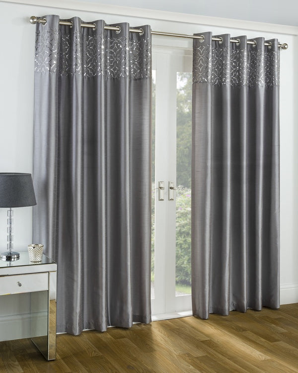 Eastern Palace Faux Silk Eyelet Curtains Silver