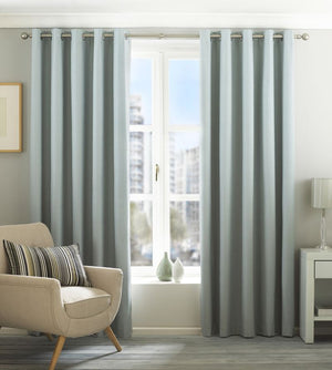 Eclipse Ready Made Lined Eyelet Curtains Duck Egg