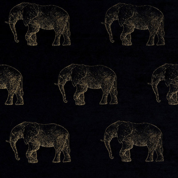 Elephant Curtain Fabric Noir