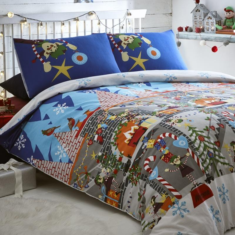 Portfolio Home Bedding  Elf Workshop Christmas Bedding Set Multi