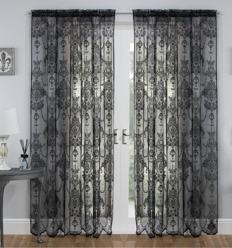 Tyrone Ready Made Curtains Elizabeth Lace Voile Panel Black Picture