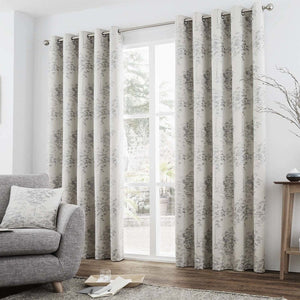 Elmwood Ready Made Lined Eyelet Curtains Silver