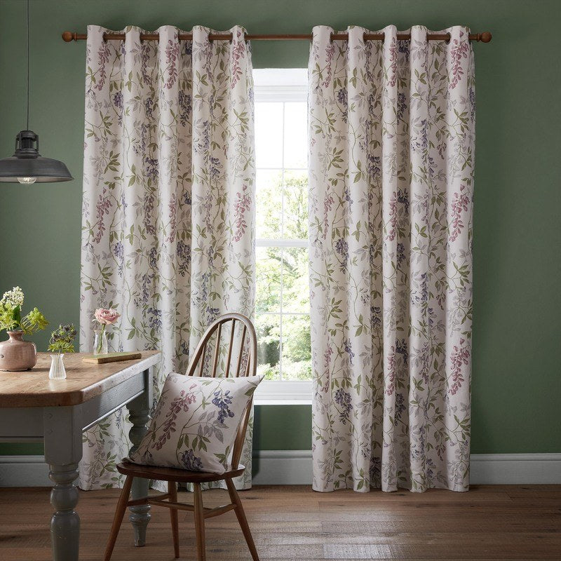 Ashley Wilde Ready Made Curtains  Emily Ready Made Eyelet Curtains Fuschia