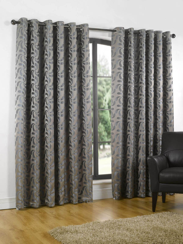 Erin Lined Eyelet Ready Made Curtains Steel