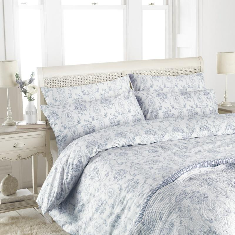 Riva Bedding Etoille Toile De Jouy Cotton Bedding Collection Blue Picture