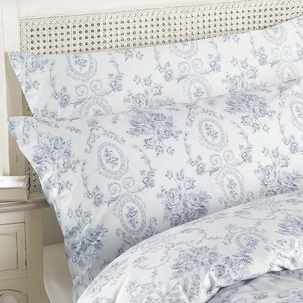 Etoille Toile De Jouy Cotton Bedding Collection Blue