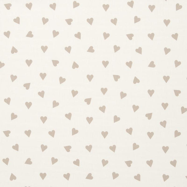 Hearts Curtain Fabric Taupe