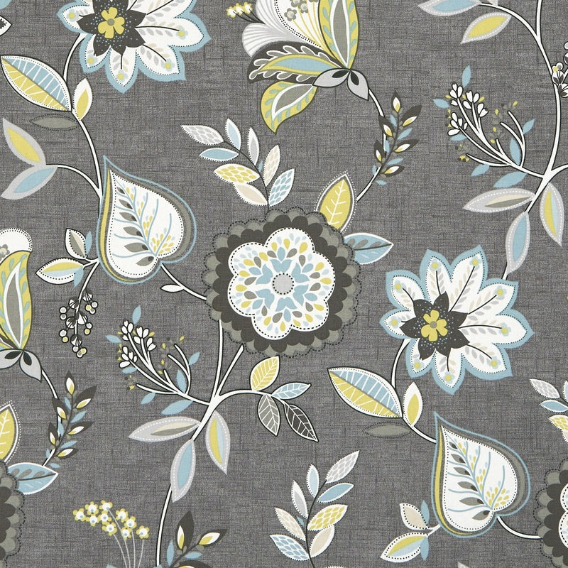 Clarke And Clarke Fabrics Octavia Curtain Fabric Charcoal / Chartreuse Picture