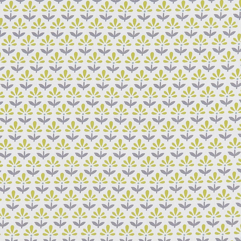 Clarke And Clarke Fabrics Fleur Curtain Fabric Chartreuse Charcoal Picture