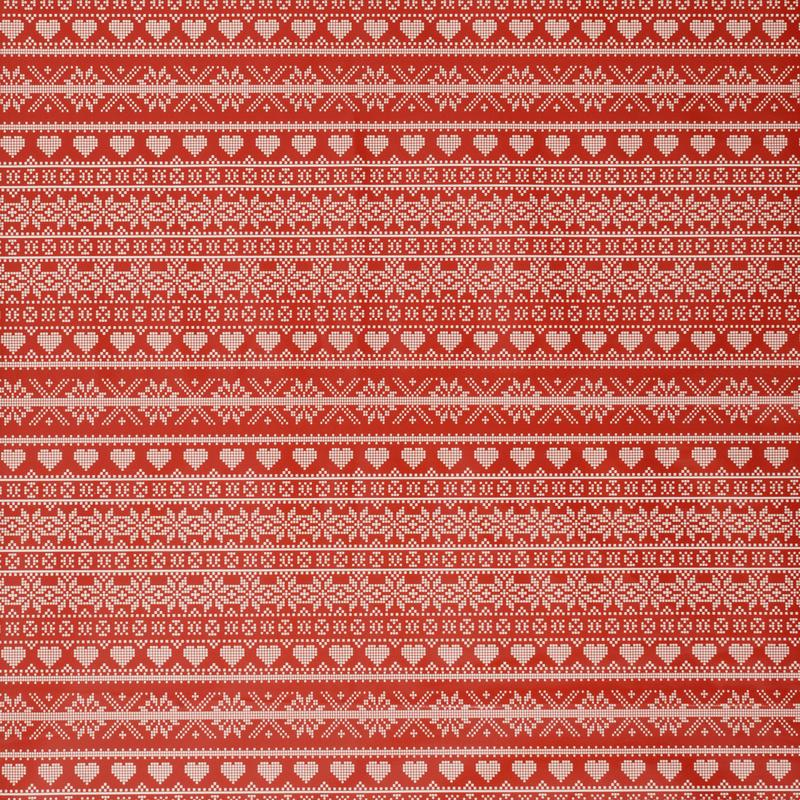 Fryetts Fabrics Fair Isle Christmas PVC Red Picture
