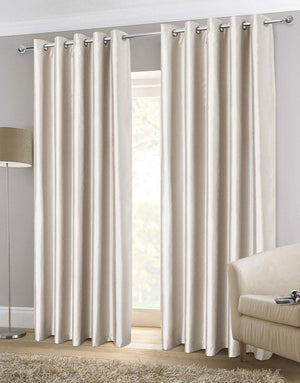 Faux Silk Ready Made Lined Eyelet Curtains Natural