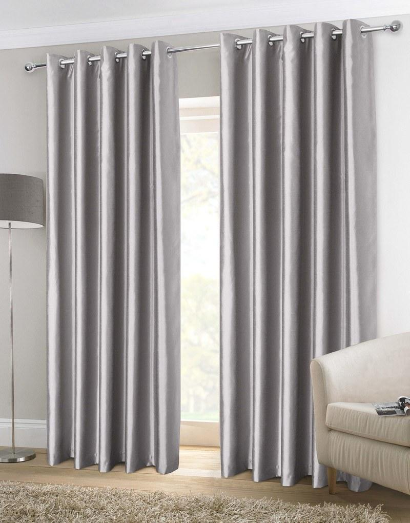 faux silk ready made lined eyelet curtains in silver. Black Bedroom Furniture Sets. Home Design Ideas