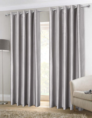 Faux Silk Ready Made Lined Eyelet Curtains Silver