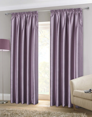 Faux Silk Ready Made Lined Curtains Heather