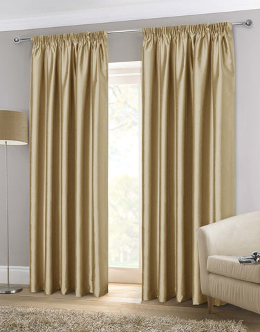 Faux Silk Ready Made Lined Curtains Mink