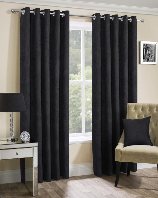 Faux Suede Ready Made Lined Eyelet Curtains Black