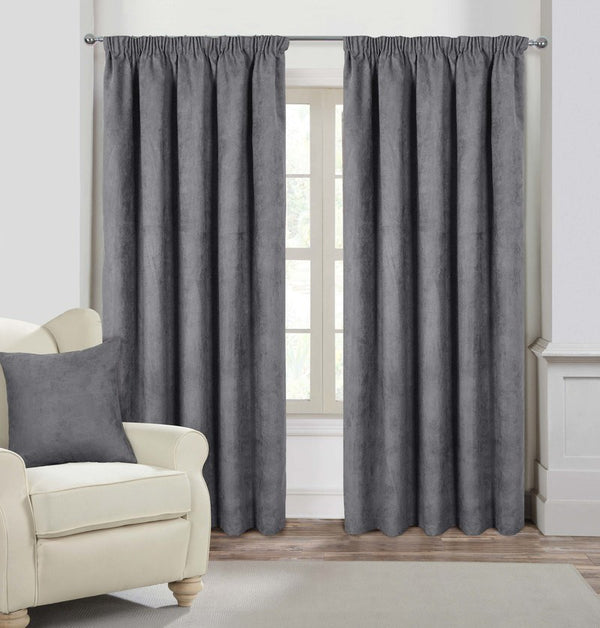 Faux Suede Ready Made Lined Curtains Silver