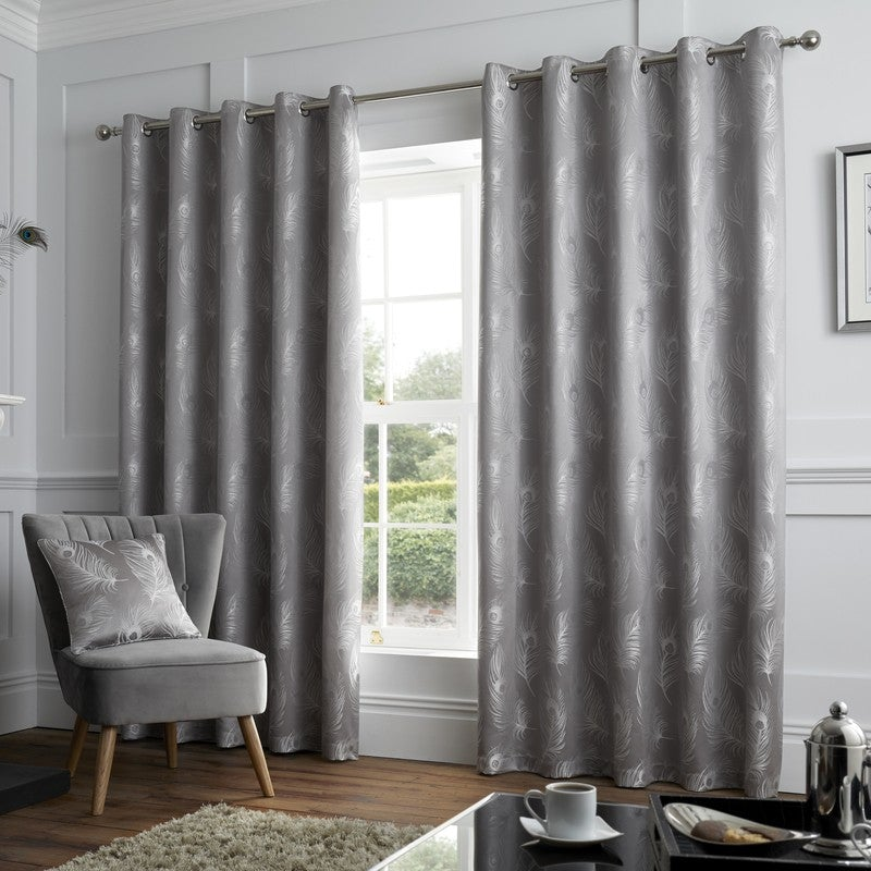 J Rosenthal Ready Made Curtains Feather Ready Made Eyelet Curtains Silver Picture
