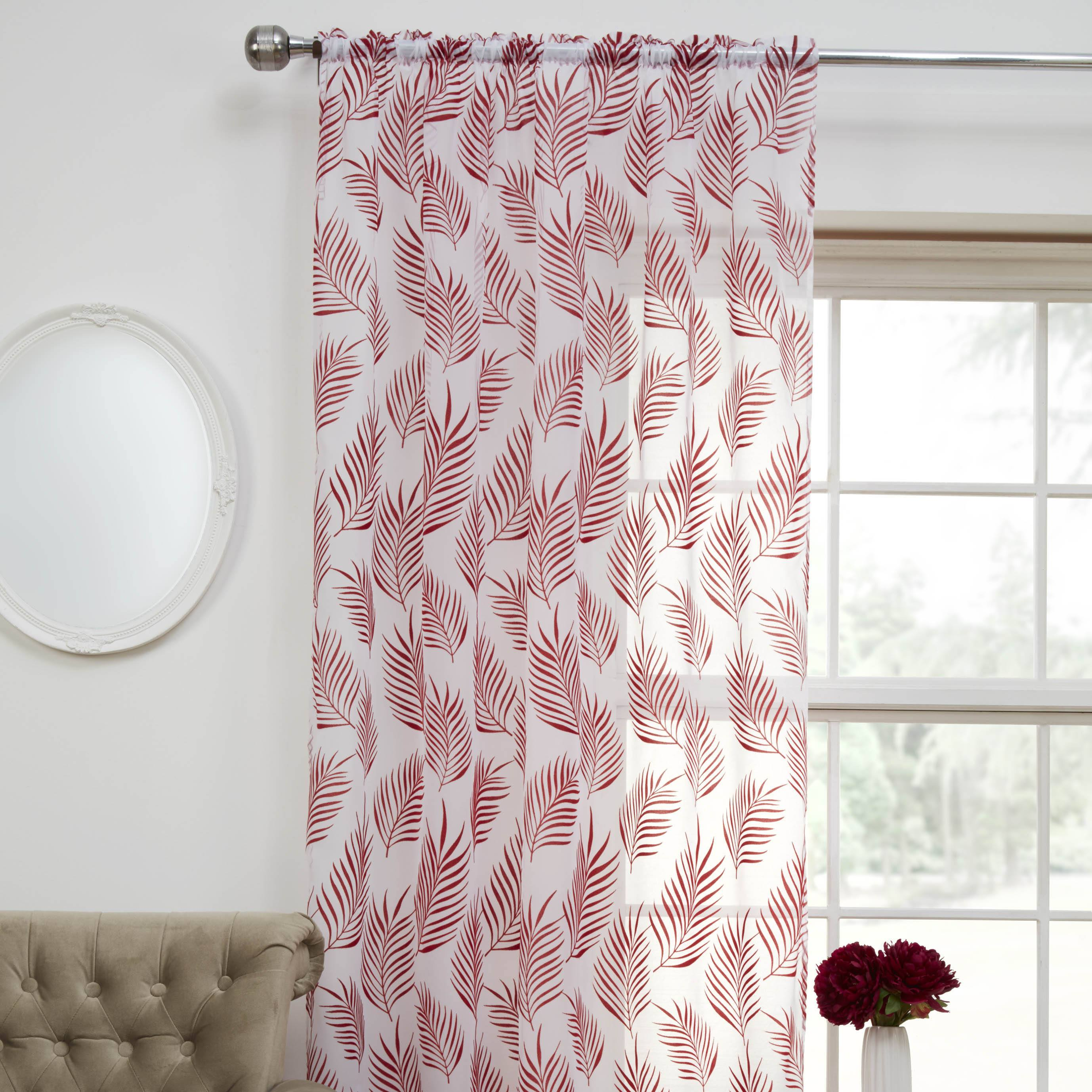 Tyrone Ready Made Curtains Fern Ready Made Rod Pocket Voile Panel Red Picture