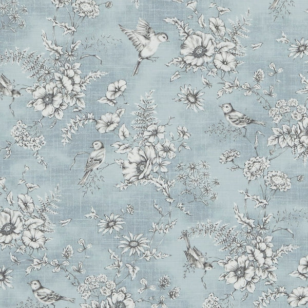 Finch Toile Curtain Fabric Delft