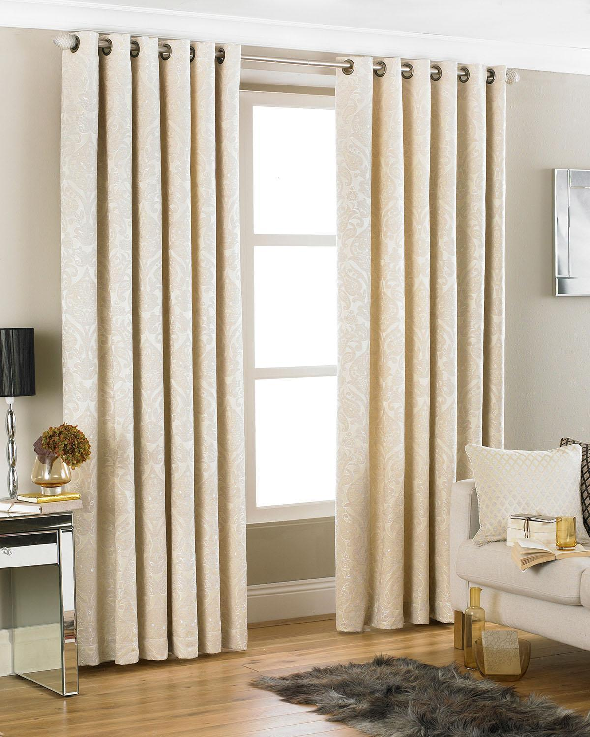 Riva Ready Made Curtains Firenze Ready Made Eyelet Curtains Cream Picture