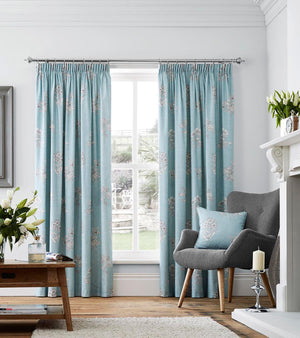 Flora Ready Made Lined Curtains Duck Egg