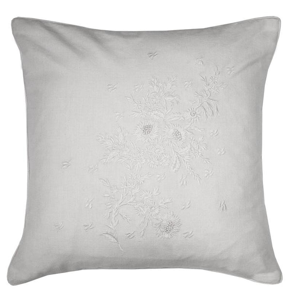 Cabbages and Roses -  Floral Embroidery Feather Filled Cushion White