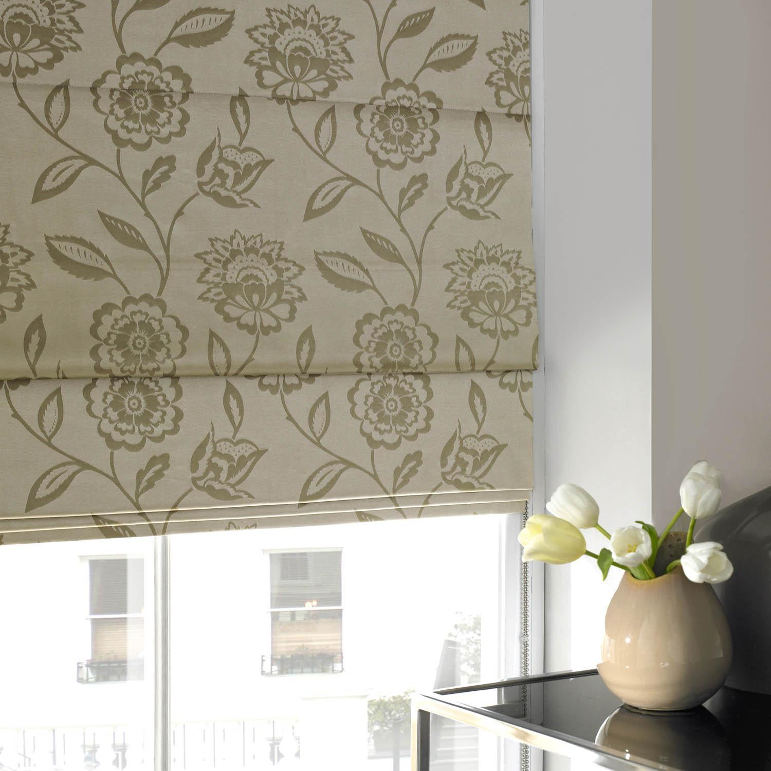 Illuminate Blinds Floral Jaquard Roman Blind Oyster Picture