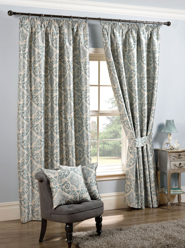 Florence Ready Made Lined Curtains Duck Egg